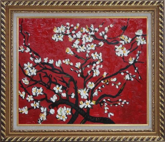 Framed Branches of Blossoming Almond Tree in Red, Van Gogh Reproduction Oil Painting Flower Post Impressionism Exquisite Gold Wood Frame 26 x 30 Inches