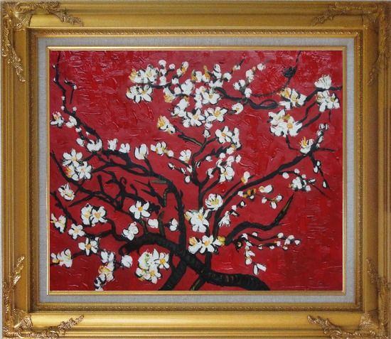 Framed branches of blossoming almond tree in red van gogh for Framed reproduction oil paintings