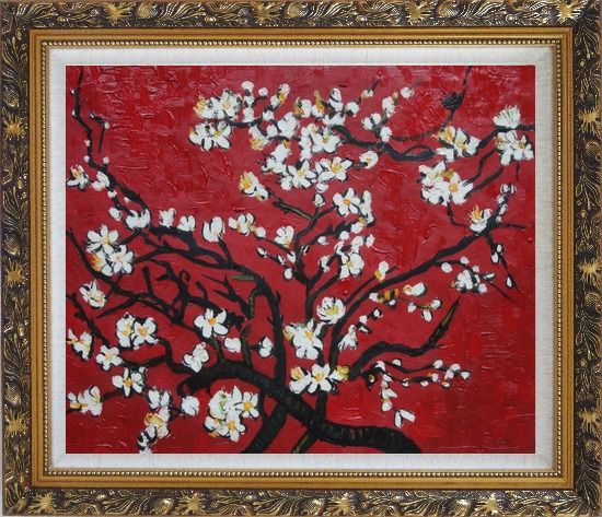 Framed Branches of Blossoming Almond Tree in Red, Van Gogh Reproduction Oil Painting Flower Post Impressionism Ornate Antique Dark Gold Wood Frame 26 x 30 Inches