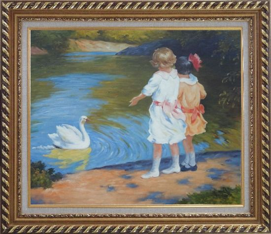 Framed girls and swan edward henry potthast reproduction for Framed reproduction oil paintings