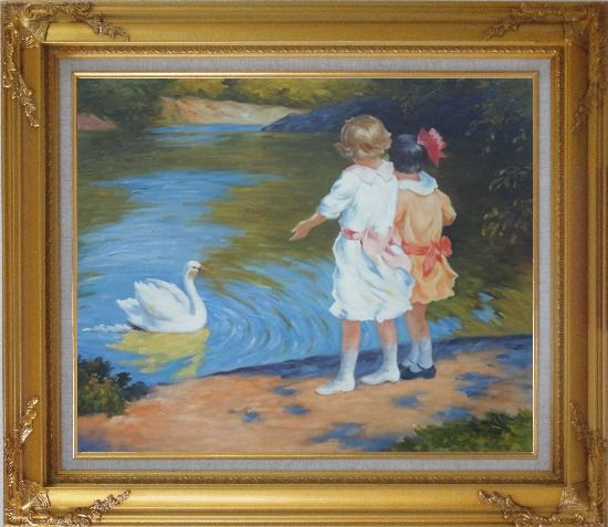 Framed Girls and Swan, Edward Henry Potthast Reproduction Oil Painting Portraits Child Impressionism Gold Wood Frame with Deco Corners 27 x 31 Inches