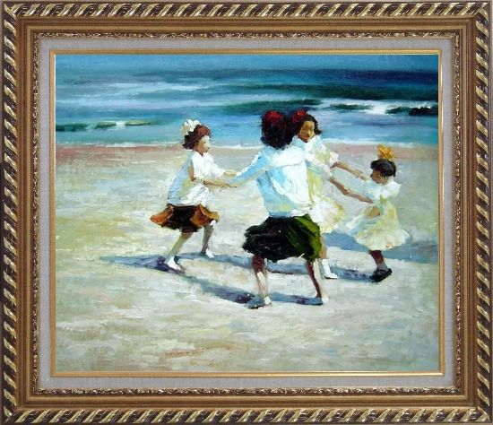 Framed Ring Around the Rosy Oil Painting Portraits Child Impressionism Exquisite Gold Wood Frame 26 x 30 Inches