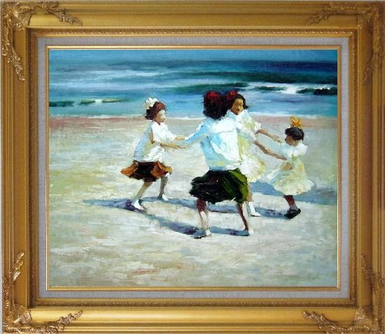 Framed Ring Around the Rosy Oil Painting Portraits Child Impressionism Gold Wood Frame with Deco Corners 27 x 31 Inches
