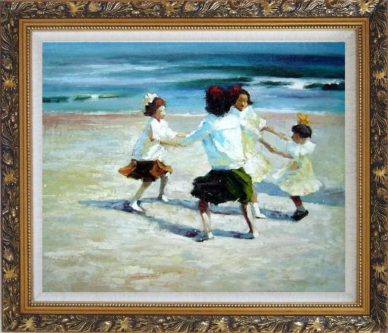 Framed Ring Around the Rosy Oil Painting Portraits Child Impressionism Ornate Antique Dark Gold Wood Frame 26 x 30 Inches
