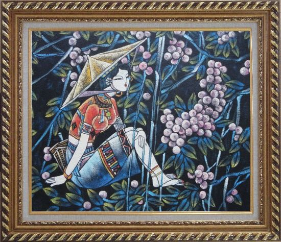Framed A Girl Relaxes in a Fruit Garden - Contemporary Oil Painting Portraits Woman Asian Exquisite Gold Wood Frame 26 x 30 Inches