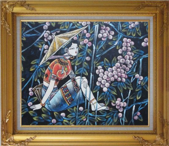 Framed A Girl Relaxes in a Fruit Garden - Contemporary Oil Painting Portraits Woman Asian Gold Wood Frame with Deco Corners 27 x 31 Inches