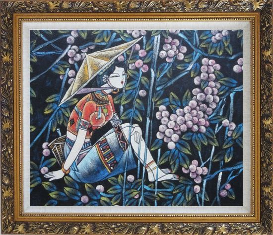 Framed A Girl Relaxes in a Fruit Garden - Contemporary Oil Painting Portraits Woman Asian Ornate Antique Dark Gold Wood Frame 26 x 30 Inches