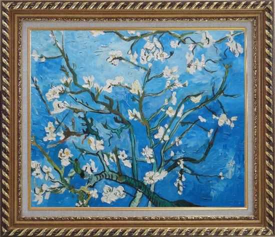 Framed Branches of Almond Tree in Blossom, Van Gogh Reproduction Oil Painting Flower Post Impressionism Exquisite Gold Wood Frame 26 x 30 Inches