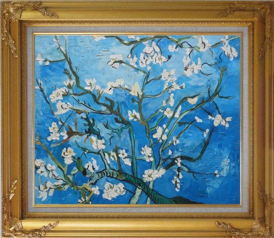 Framed branches of almond tree in blossom van gogh for Framed reproduction oil paintings