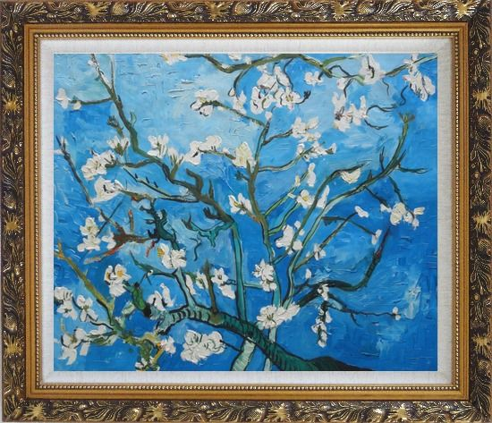 Framed Branches of Almond Tree in Blossom, Van Gogh Reproduction Oil Painting Flower Post Impressionism Ornate Antique Dark Gold Wood Frame 26 x 30 Inches