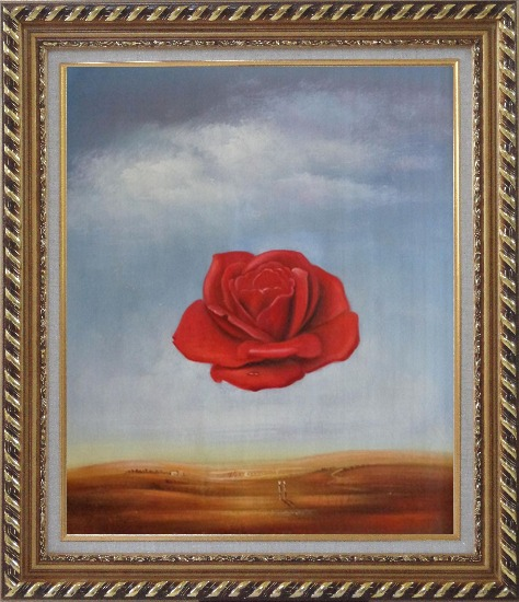 Framed The Meditative Rose, Dali Reproduction Oil Painting Flower Modern Surrealist Exquisite Gold Wood Frame 30 x 26 Inches