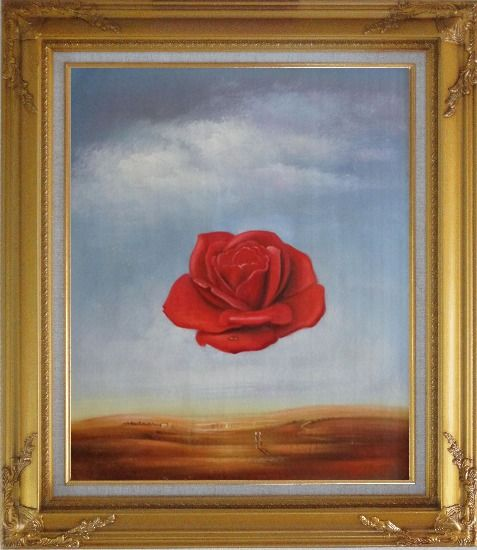 Framed The Meditative Rose, Dali Reproduction Oil Painting Flower Modern Surrealist Gold Wood Frame with Deco Corners 31 x 27 Inches