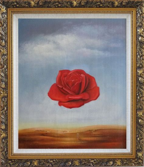 Framed The Meditative Rose, Dali Reproduction Oil Painting Flower Modern Surrealist Ornate Antique Dark Gold Wood Frame 30 x 26 Inches