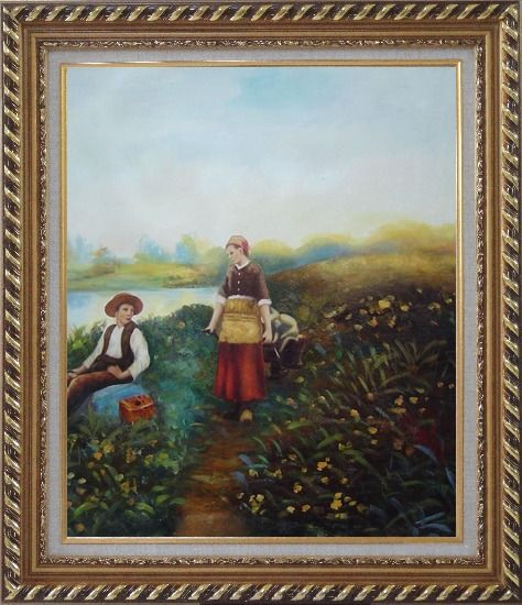 Framed A Passing Conversation Oil Painting Portraits Couple Classic Exquisite Gold Wood Frame 30 x 26 Inches