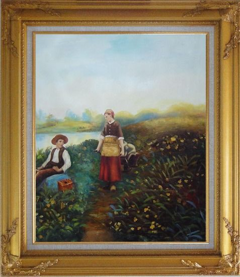 Framed A Passing Conversation Oil Painting Portraits Couple Classic Gold Wood Frame with Deco Corners 31 x 27 Inches