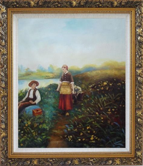Framed A Passing Conversation Oil Painting Portraits Couple Classic Ornate Antique Dark Gold Wood Frame 30 x 26 Inches