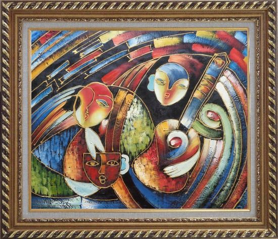 Framed band with guitar player picasso reproduction oil for Framed reproduction oil paintings
