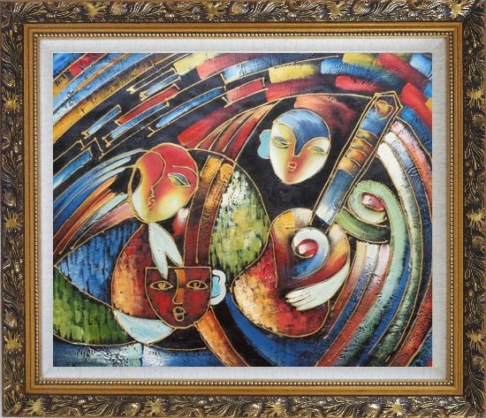 Framed Band with Guitar Player, Picasso Reproduction Oil Painting Portraits Modern Cubism Ornate Antique Dark Gold Wood Frame 26 x 30 Inches