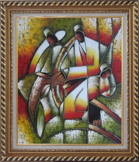 Framed Picasso Reproduction - Playing Music Instruments Oil Painting Portraits Couple Modern Cubism Exquisite Gold Wood Frame 30 x 26 Inches