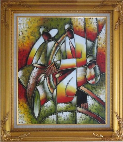Framed Picasso Reproduction - Playing Music Instruments Oil Painting Portraits Couple Modern Cubism Gold Wood Frame with Deco Corners 31 x 27 Inches