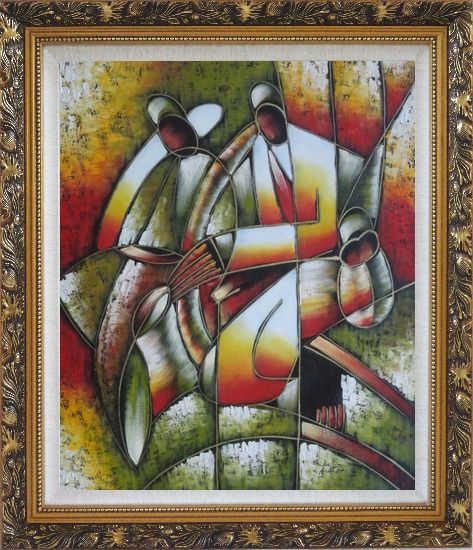 Framed Picasso Reproduction - Playing Music Instruments Oil Painting Portraits Couple Modern Cubism Ornate Antique Dark Gold Wood Frame 30 x 26 Inches