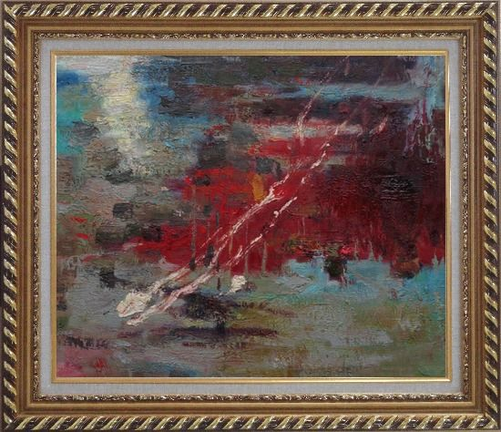 Framed Pond Reflections Oil Painting Nonobjective Impressionism Exquisite Gold Wood Frame 26 x 30 Inches
