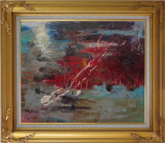 Framed Pond Reflections Oil Painting Nonobjective Impressionism Gold Wood Frame with Deco Corners 27 x 31 Inches