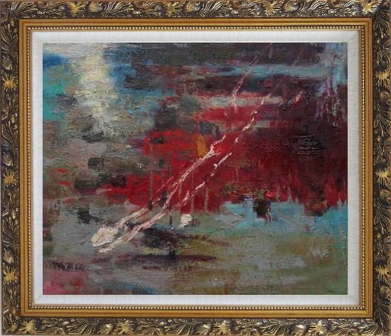 Framed Pond Reflections Oil Painting Nonobjective Impressionism Ornate Antique Dark Gold Wood Frame 26 x 30 Inches
