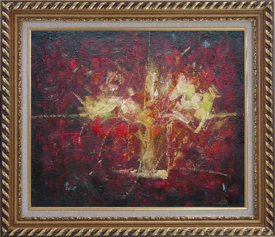 Framed Yellow Bouquet in Red Background Oil Painting Flower Impressionism Exquisite Gold Wood Frame 26 x 30 Inches