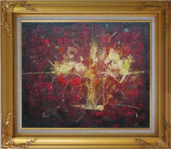 Framed Yellow Bouquet in Red Background Oil Painting Flower Impressionism Gold Wood Frame with Deco Corners 27 x 31 Inches