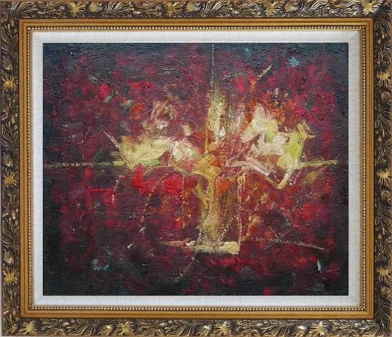 Framed Yellow Bouquet in Red Background Oil Painting Flower Impressionism Ornate Antique Dark Gold Wood Frame 26 x 30 Inches
