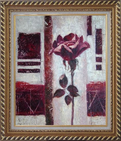 Framed Purple Rose Flower Oil Painting Modern Exquisite Gold Wood Frame 30 x 26 Inches