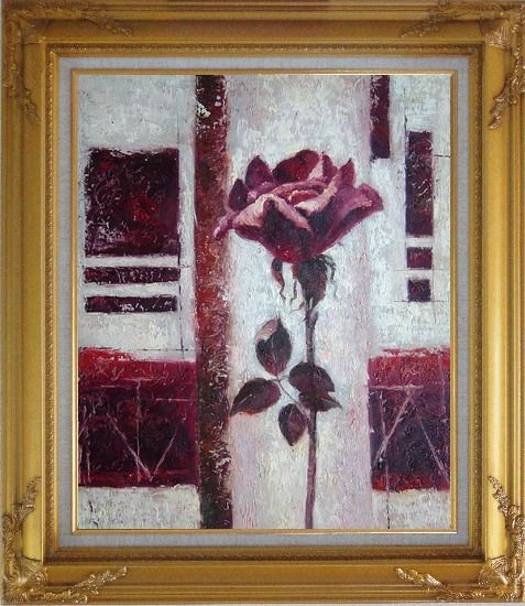 Framed Purple Rose Flower Oil Painting Modern Gold Wood Frame with Deco Corners 31 x 27 Inches