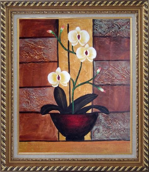Framed Light Yellow Orchid in Pleasant Background Oil Painting Flower Decorative Exquisite Gold Wood Frame 30 x 26 Inches