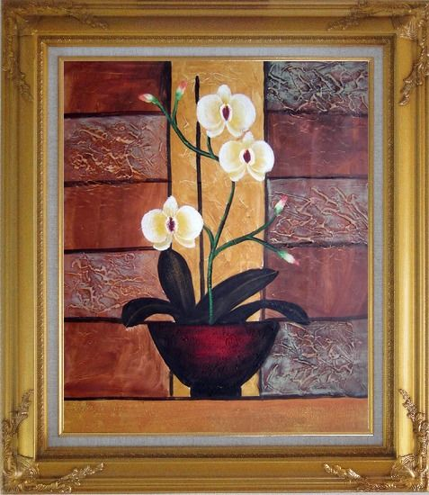 Framed Light Yellow Orchid in Pleasant Background Oil Painting Flower Decorative Gold Wood Frame with Deco Corners 31 x 27 Inches