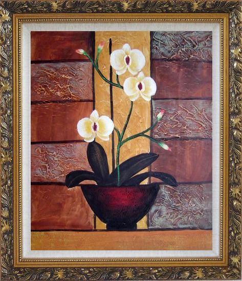 Framed Light Yellow Orchid in Pleasant Background Oil Painting Flower Decorative Ornate Antique Dark Gold Wood Frame 30 x 26 Inches