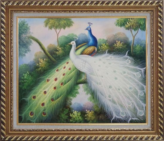 Framed Peacocks with Bright Colorful Feathers Oil Painting Animal Naturalism Exquisite Gold Wood Frame 26 x 30 Inches