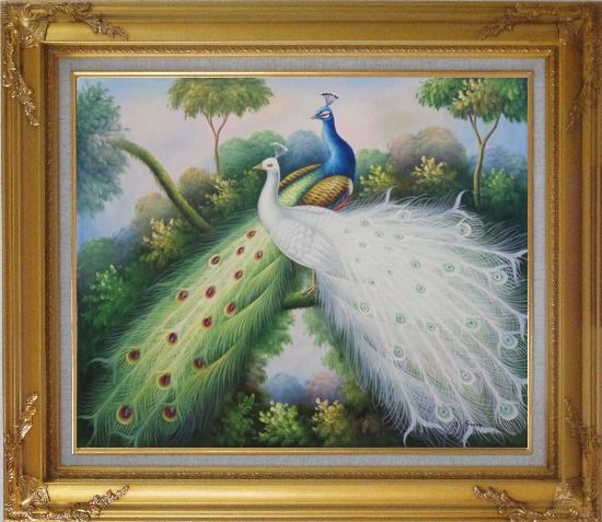 Framed Peacocks with Bright Colorful Feathers Oil Painting Animal Naturalism Gold Wood Frame with Deco Corners 27 x 31 Inches