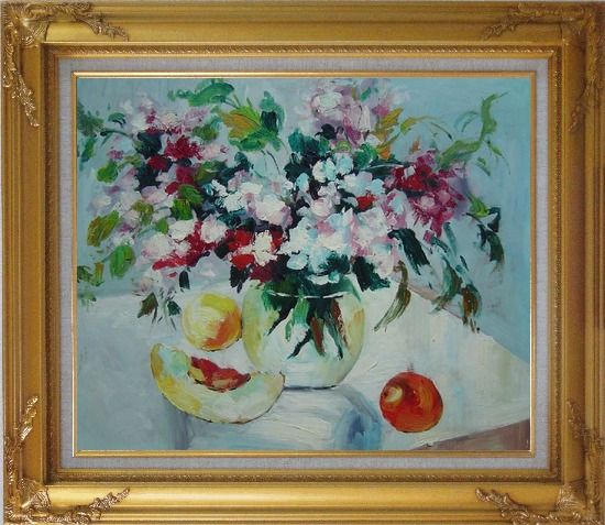 Framed Summer Sunshine Oil Painting Flower Impressionism Gold Wood Frame with Deco Corners 27 x 31 Inches