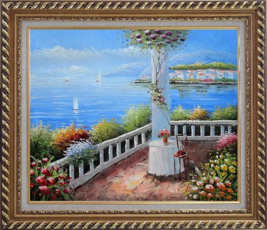 Framed Mediterranean Retreat with Infinity Views Oil Painting Naturalism Exquisite Gold Wood Frame 26 x 30 Inches
