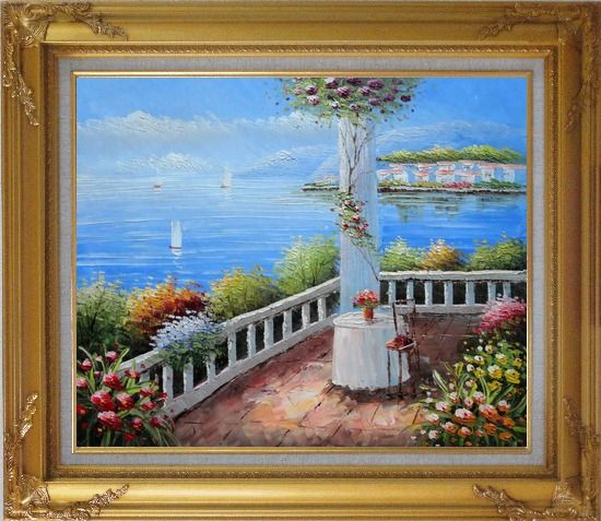 Framed Mediterranean Retreat with Infinity Views Oil Painting Naturalism Gold Wood Frame with Deco Corners 27 x 31 Inches