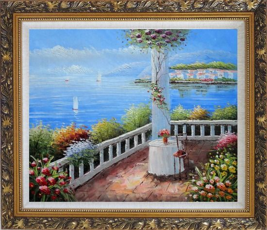 Framed Mediterranean Retreat with Infinity Views Oil Painting Naturalism Ornate Antique Dark Gold Wood Frame 26 x 30 Inches