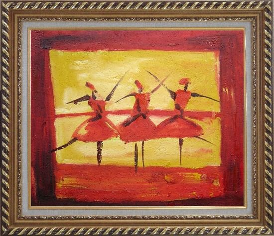 Framed Three Female Dancers Oil Painting Portraits Woman Modern Exquisite Gold Wood Frame 26 x 30 Inches