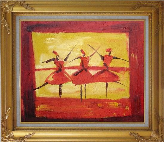 Framed Three Female Dancers Oil Painting Portraits Woman Modern Gold Wood Frame with Deco Corners 27 x 31 Inches