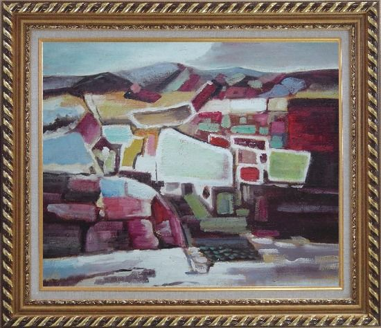 Framed Village Vista Oil Painting Cityscape Modern Exquisite Gold Wood Frame 26 x 30 Inches
