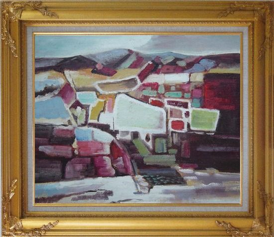 Framed Village Vista Oil Painting Cityscape Modern Gold Wood Frame with Deco Corners 27 x 31 Inches