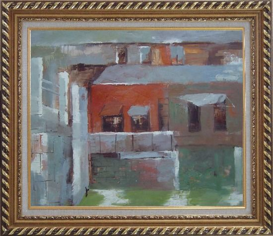 Framed Water Village in Quiet Afernoon Oil Painting Cityscape Impressionism Exquisite Gold Wood Frame 26 x 30 Inches
