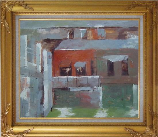 Framed Water Village in Quiet Afernoon Oil Painting Cityscape Impressionism Gold Wood Frame with Deco Corners 27 x 31 Inches
