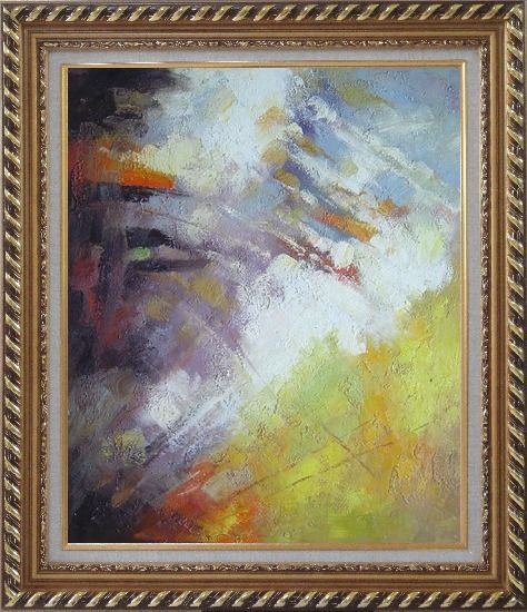 Framed Turbulence Oil Painting Nonobjective Impressionism Exquisite Gold Wood Frame 30 x 26 Inches