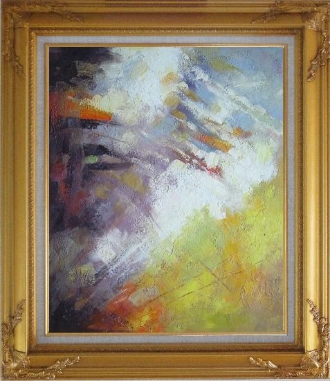 Framed Turbulence Oil Painting Nonobjective Impressionism Gold Wood Frame with Deco Corners 31 x 27 Inches